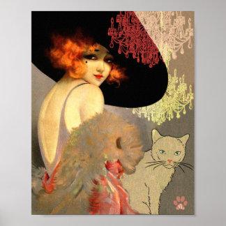 Gato del Veronica y poster o impresión de la lámpa