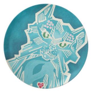 Gato del vidrio plano de la onza platos de comidas