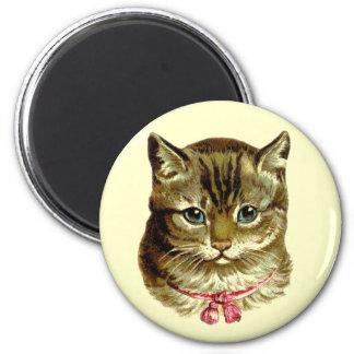 Gato del vintage con el arco rosado imán redondo 5 cm