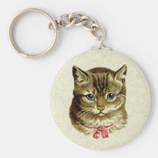 Gato del vintage con el arco rosado llaveros personalizados
