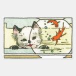 Gato del vintage con el cuenco de los pescados rectangular pegatinas