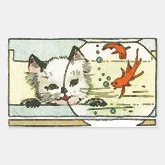 Gato del vintage con el cuenco de los pescados pegatina rectangular