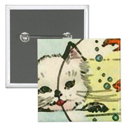 Gato del vintage con el cuenco de los pescados pin cuadrada 5 cm