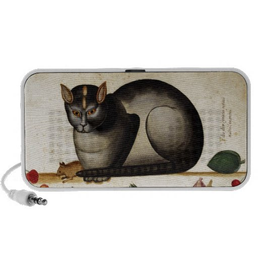 Gato del vintage con el ratón altavoz