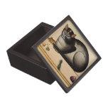 Gato del vintage con el ratón cajas de recuerdo de calidad