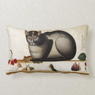 Gato del vintage con el ratón cojín