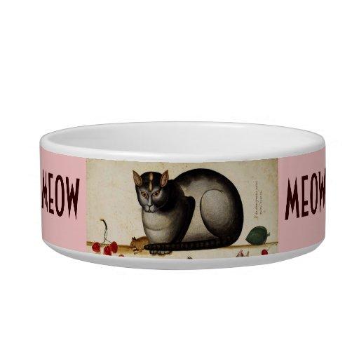 Gato del vintage con el ratón tazones para comida para gato
