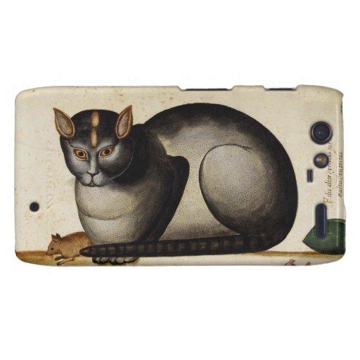 Gato del vintage con el ratón motorola droid RAZR carcasas