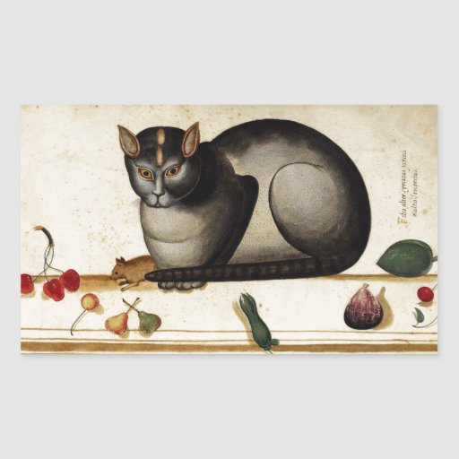 Gato del vintage con el ratón pegatina rectangular