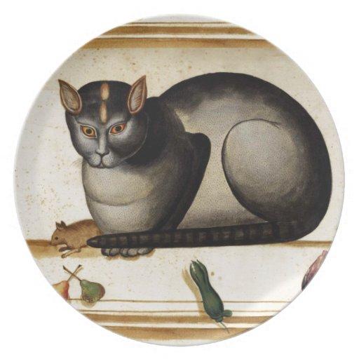 Gato del vintage con el ratón plato