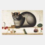 Gato del vintage con el ratón rectangular pegatina