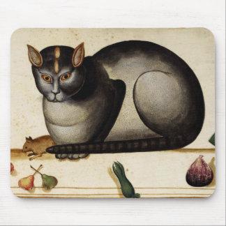Gato del vintage con el ratón tapetes de ratón