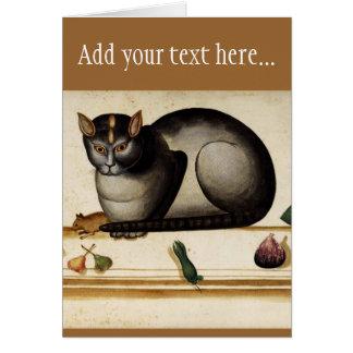 Gato del vintage con el ratón tarjeta de felicitación