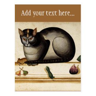 Gato del vintage con el ratón tarjeta postal