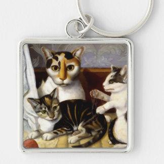 Gato del vintage con los gatitos llavero cuadrado plateado