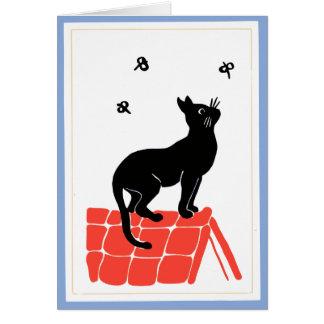 Gato del vintage en arte popular del tejado tarjeta pequeña