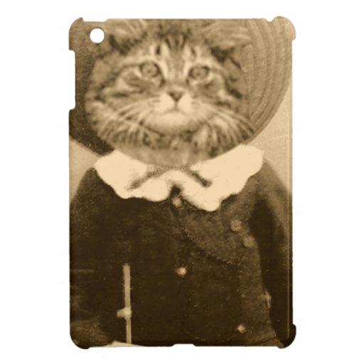 Gato del vintage en el gorra