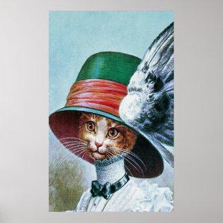 Gato del vintage en la impresión del poster del go