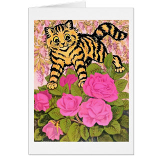 Gato del vintage en la tarjeta de Bush color de ro