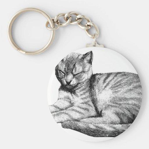 Gato del vintage llavero redondo tipo pin