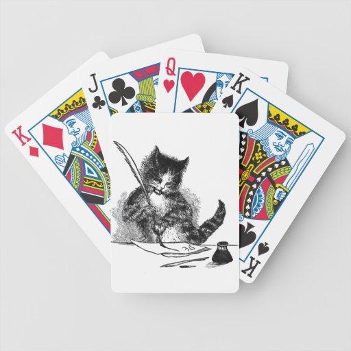 Gato del vintage que escribe una letra cartas de juego
