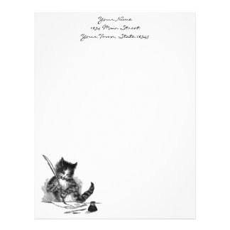 Gato del vintage que escribe una letra membretes personalizados