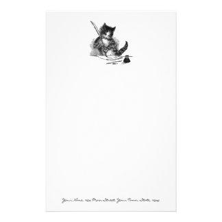 Gato del vintage que escribe una letra papeleria de diseño