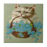 Gato del vintage que sostiene la cesta de flores tejas  ceramicas