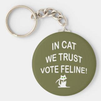 Gato del voto con el texto blanco llavero redondo tipo pin
