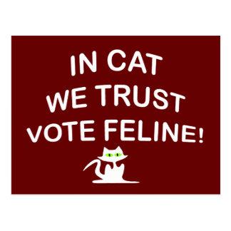 Gato del voto con el texto blanco postales