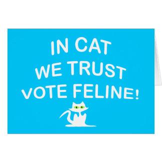 Gato del voto con el texto blanco tarjeta