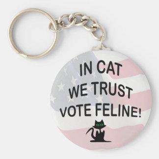 Gato del voto con la bandera americana llavero redondo tipo pin