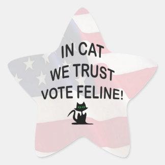 Gato del voto con la bandera americana calcomanías forma de estrellas personalizadas