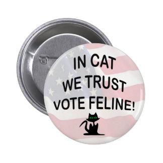 Gato del voto con la bandera americana pin redondo de 2 pulgadas