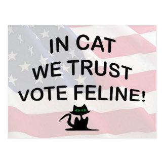 Gato del voto con la bandera americana postales