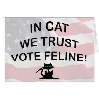 Gato del voto con la bandera americana tarjeton