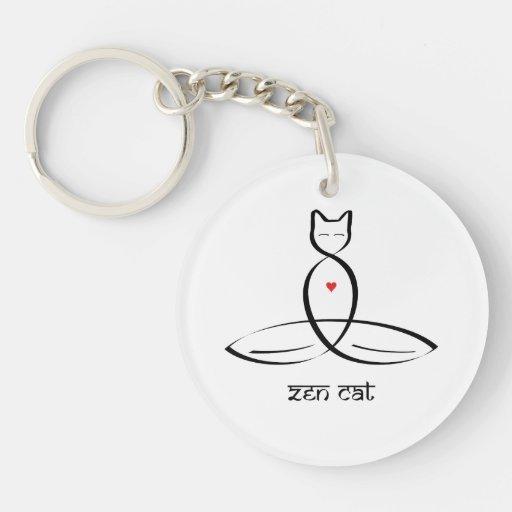 Gato del zen - texto sánscrito del estilo llavero redondo acrílico a una cara