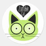 Gato del zombi etiquetas redondas