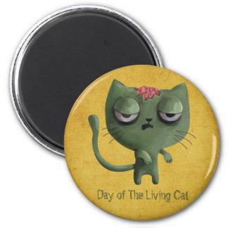 Gato del zombi imán redondo 5 cm