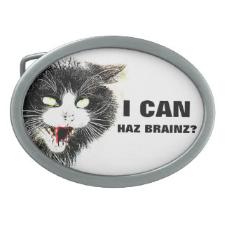 Gato del zombi puedo hebilla del cinturón de Haz B Hebilla De Cinturón Oval