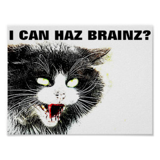 Gato del zombi puedo mini poster de Haz Brainz