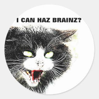 Gato del zombi puedo pegatina de Haz Brainz