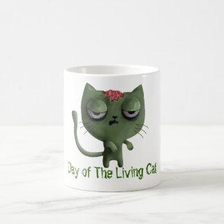 Gato del zombi taza básica blanca