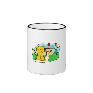 Gato delante de la casa taza de dos colores
