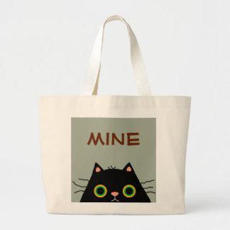 Gato desaseado bolsa de tela grande
