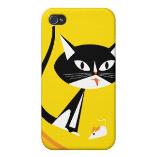 Gato descarado retro en caja amarilla de la mota d iPhone 4/4S funda