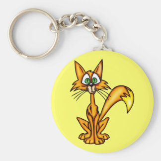 Gato desconcertante del dibujo animado llavero redondo tipo pin
