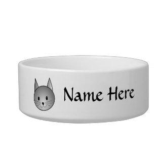 Gato. Diseño gris adorable del gatito Comedero Para Mascota