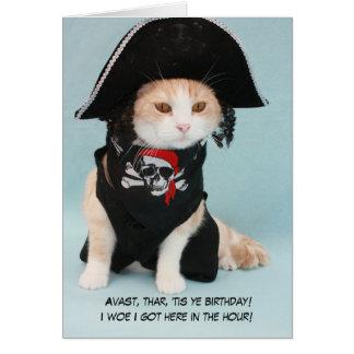 Gato divertido adaptable del pirata tarjeta de felicitación
