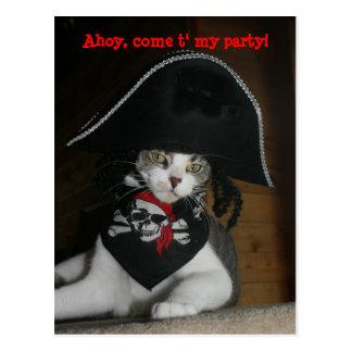 Gato divertido adaptable del pirata tarjeta postal